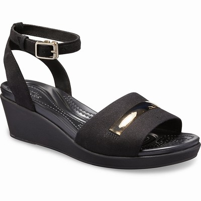 Damske Heels-wedges Crocs Leigh Ann Metal-Block Strap Čierne | AF4386MP