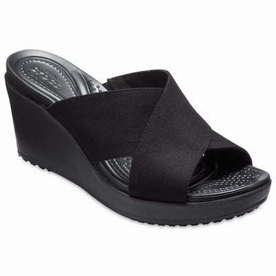 Damske Heels-wedges Crocs Leigh II Cross-Strap Čierne | GK3020XP