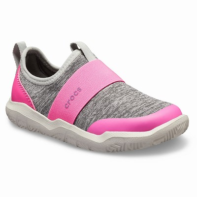 Detske Tenisky Crocs Swiftwater Easy-On Heathered Svetlo Siva | TK8965HW